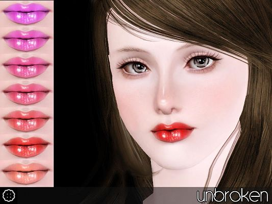 Sims 3 lips, lipstick, lipgloss, makeup, female, sims3