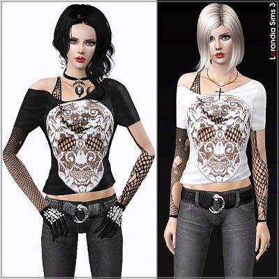 Sims 3 goth, emo, skull, lace, top, blouse