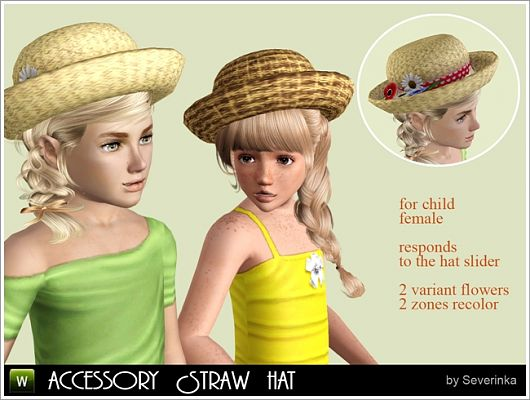 Sims 3 accessory, hat, straws