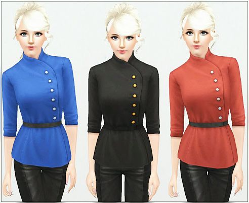 Sims 3 top, clothes, fashion, females, jacket