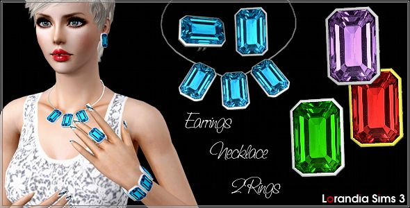 Sims 3 gemstone, set, necklace, ring, earrings