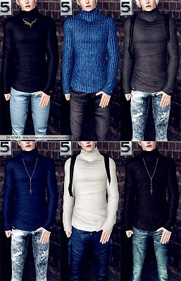 Sims 3 top, clothing, sweater, male, sims3