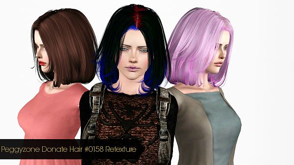 Sims 3 hair, hairstyle, genetics, retextures, female, sims3