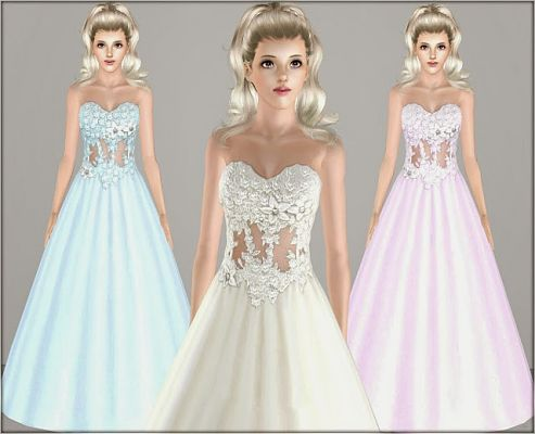 Sims 3 dress, cloth, clothing, formal, wedding