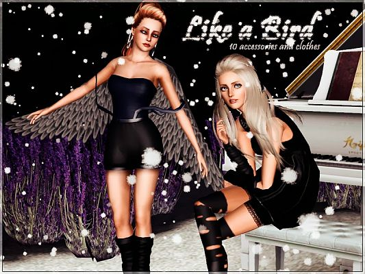 Sims 3 accessory, wings, gloves