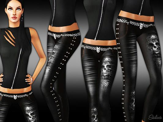 Sims 3 pants, bottom, leather