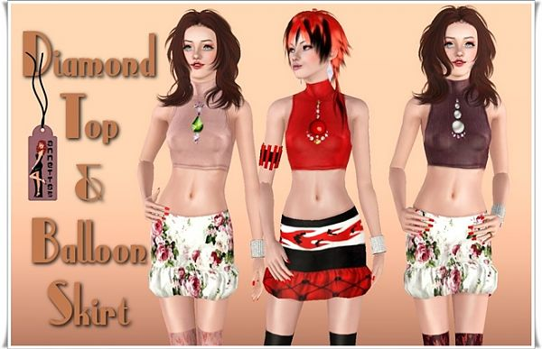 Sims 3 female, clothing, skirt, top