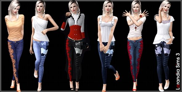 Sims 3 jeans, denim, bottom, lace, camouflage