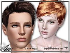 Sims 3 eyebrows, brows, genetics, freckles, sims3