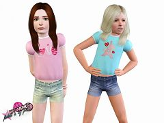Sims 3 top, clothes, fashion, females, shorts, denim