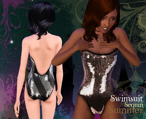 Sims 3 swim, sequin, glitter, swimwear