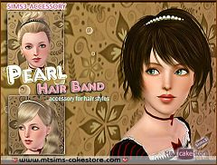 Sims 3 head, band, pearls, jewelry