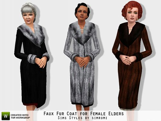 Sims 3 cloth, clothing, outfit, fur
