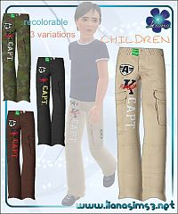 Sims 3 children, cargo, pants, boys