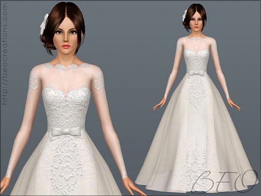 Sims 3 outfit, fashion, clothing, female, dress, gown, wedding, sims3