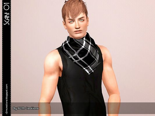 Sims 3 scarf, accessories, male