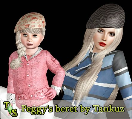 Sims 3 hats, accessories, beret, female