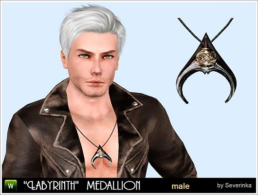 Sims 3 necklace, jewelry, accessories, male, cristal ball