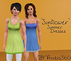 Sims 3 clothing, fashion, dress, sunflower, summer