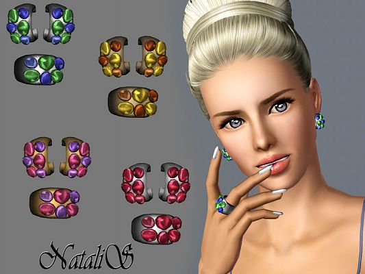 Sims 3 earrings, set, ring, jewelry, accessories, female