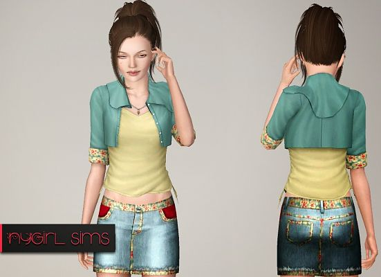 Sims 3 skirt, clothing, clothes, denim