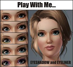Sims 3 eyeshadow, eyeliner, makeup