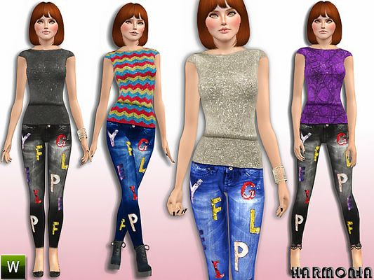 Sims 3 top, clothes, fashion, females, jeans