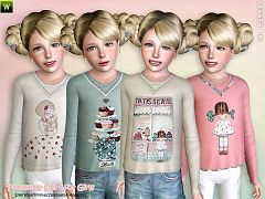 Sims 3 female, outfit, clothing, t-shirt, sims3