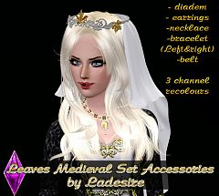 Sims 3 accessory, earrings, necklace, bracelet, diadem