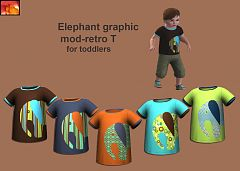 Sims 3 fashion, clohtes, toddler, boy, tee, t-shirt, elephant