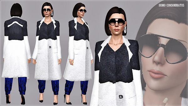 Sims 3 outfit, costume, coat