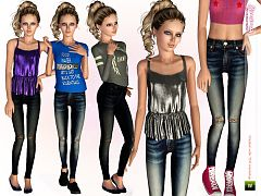 Sims 3 outfit, jeans, top