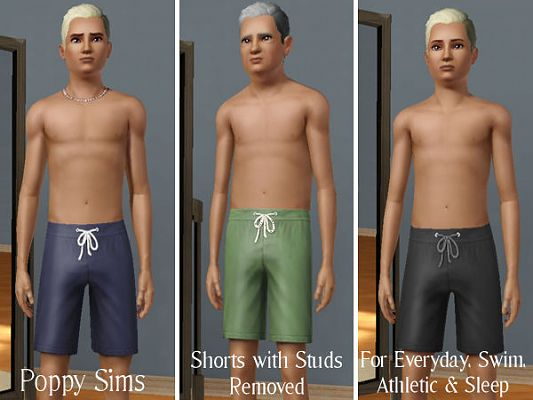 Sims 3 shorts, male, clothing