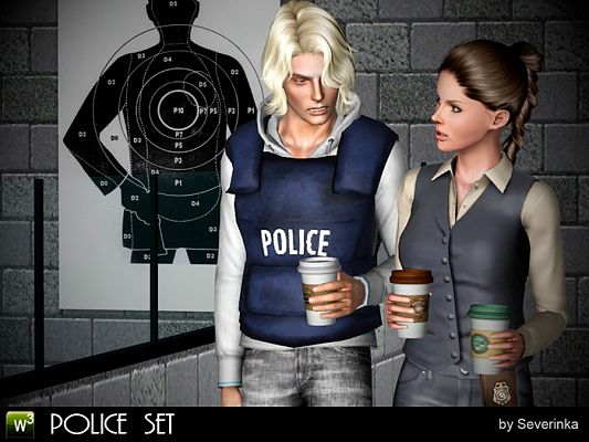 Sims 3 police, target, badge, vest