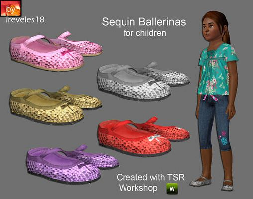 Sims 3 shoes, sequin, ballerines, child