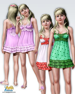 Sims 3 clothing, dress, formal, everyday, dots, sims3, fa
