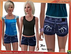 Sims 3 short, pants, bottom, denim, jeans, cloth, clothes, fashion, females