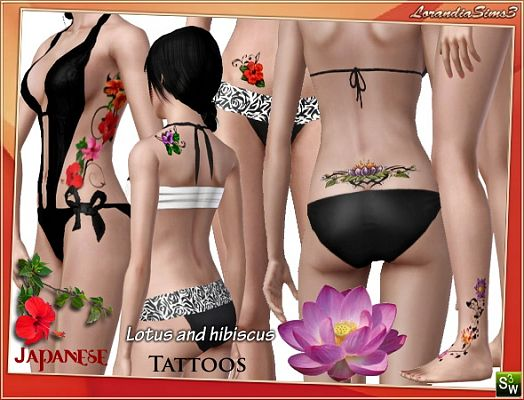 Sims 3 flower, tattoo, accessories, female