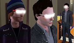 Sims 3 glasses, glow, cyber