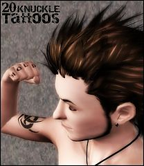 Sims 3 tatoos, knuckle, tatoo