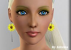 Sims 3 jewelry, earrings, sunflower