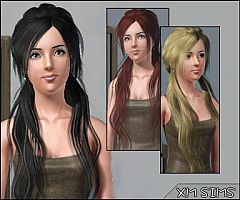 Sims 3 hair, long, hairstyle