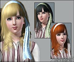Sims 3 hair, medium , ribbon ,hairstyle