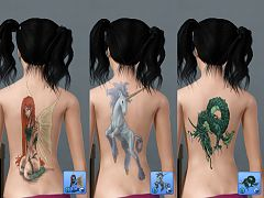 Sims 3 tatoo, accessories, female