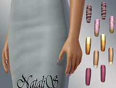 Sims 3 nails, long, accessories