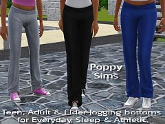 Sims 3 pants, clothing, female, athletic