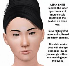 Sims 3 skin, face, asian, female, male