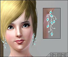 Sims 3 earrings, accessories, female, floral, blue