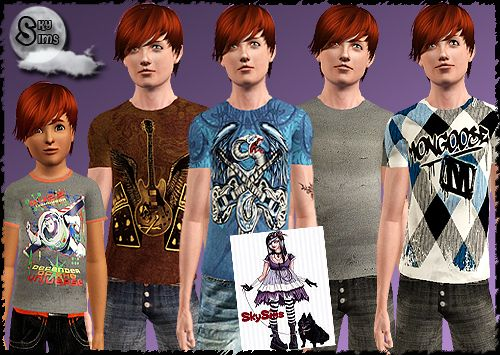 Sims 3 tees, top, clothing, male