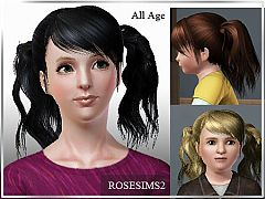 Sims 3 hairstyle, hair, tails, long